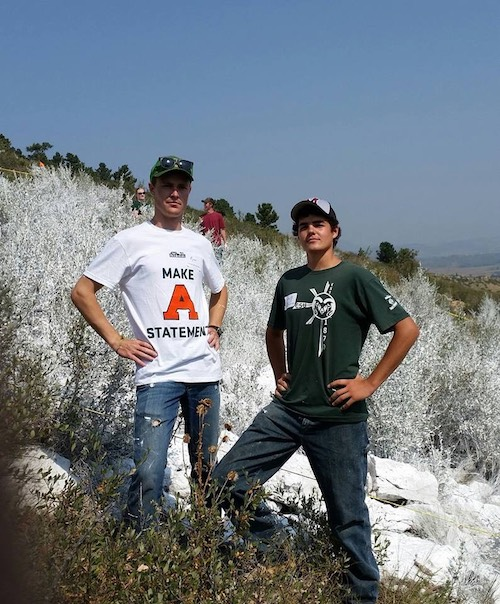 Ryan, left, and Gus painting the A in 2015.