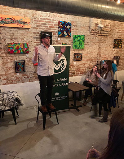 Eric Byington (M.B.A., '14) speaks at Queen City Collective Coffee with a group from CSU's College of Business.