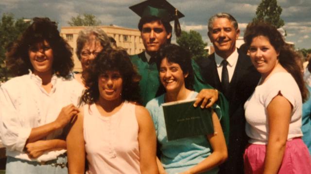 Bob Chavez and his family at graduation, 1987