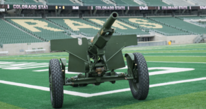 cannon on a football field