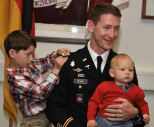 Major Michael Henry promoted to Lieutenant Colonel on May 4, 2020 in Vilseck, Germany. (U.S. Army photo by Spc. Denice Lopez)
