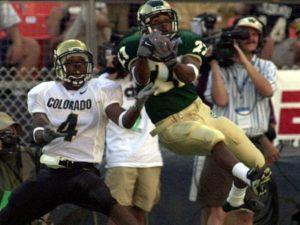 Davis catching a pass at the Rocky Mountain Showdown