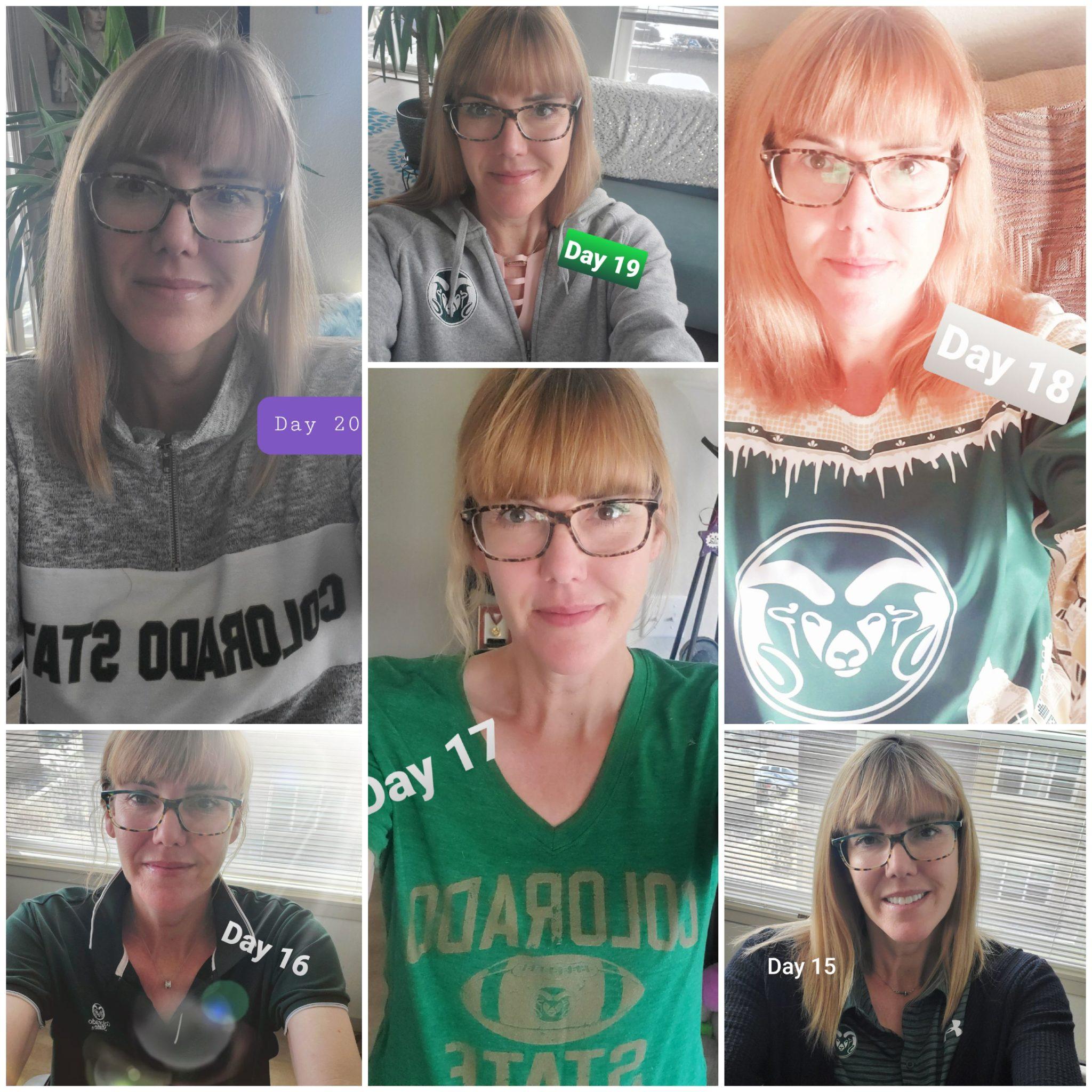 Collage of alumni selfies in Colorado State University gear