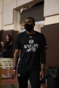 Student Athlete in Black Lives Matter t-shirt